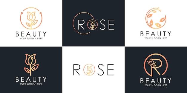 Il set di design del logo di bellezza usa il concetto di rosa