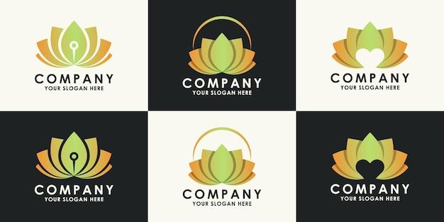 Set di design del logo del fiore di bellezza e benessere