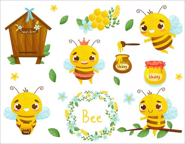 Set di ape, miele e altre illustrazioni di apicoltura. . stile cartone animato.