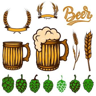 Insieme di elementi di design della birra