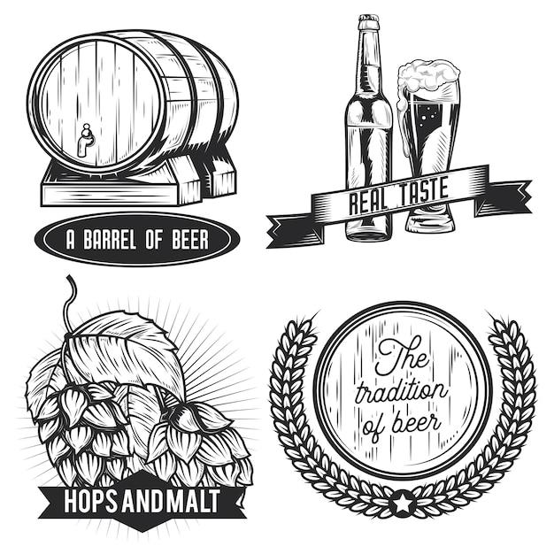 Set di emblemi di birra, etichette, distintivi, loghi.