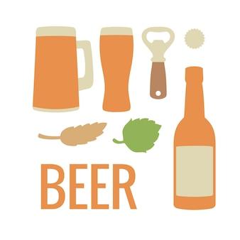 Imposta l'icona della birra. illustrazione piana di vettore. per il web, infografica.