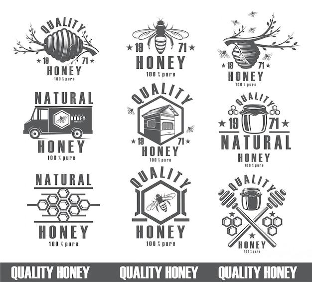 Set di sfondo di api, icone vintage, nettare, prodotto di imballaggio. figure api, il design di un prodotto naturale.