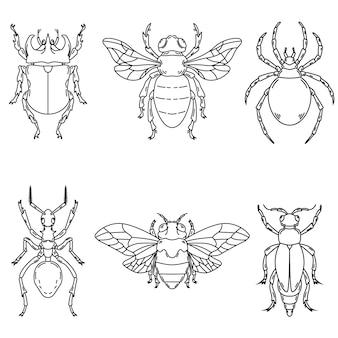 Insieme delle illustrazioni dello scarabeo su fondo bianco. elementi per logo, etichetta, emblema, segno. illustrazione