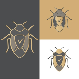 Una serie di coleotteri di icone, simboli e loghi per antivirus, per applicazioni mobili e computer