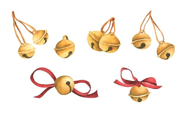 Set di campane cartolina di natale acquerello per inviti auguri vacanze e decorazioni