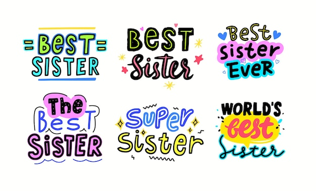 Set di migliori banner sorella con scritte o tipografia e stelle. font scritti a mano con elementi doodle isolati su sfondo bianco. stampa t-shirt, design per biglietto di auguri. illustrazione vettoriale