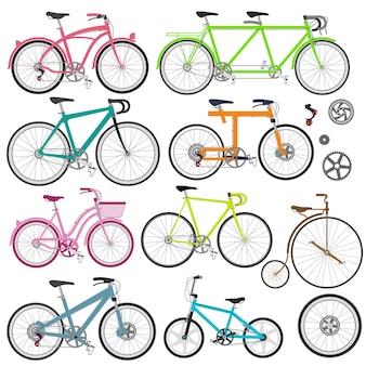 Set di biciclette in stile piatto guida dei tipi di bici