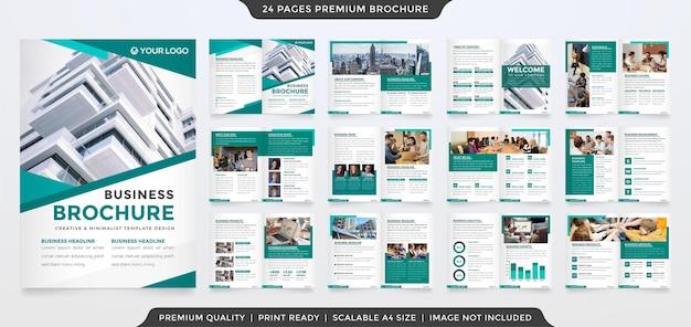 Set di modello di brochure bifold con stile minimalista