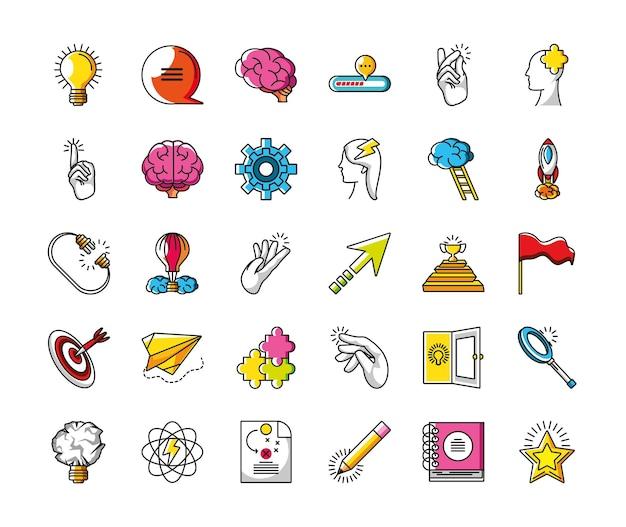 Set di creatività per la potenza della lampadina di grande idea