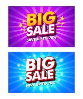 Set di banner di grande vendita per la promozione