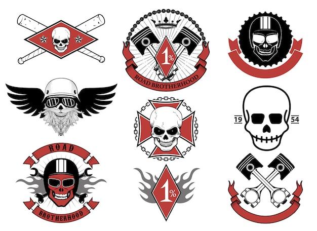 Set di emblemi e distintivi di motociclisti.