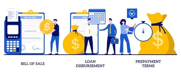 Insieme di atto di vendita, erogazione del prestito, termini di pagamento anticipato, firma del contratto finanziario