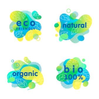Set di adesivi e loghi bio, eco, organici, naturali con forme liquide. composizioni fluide