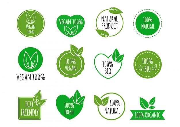 Set di etichette di alimenti sani bio