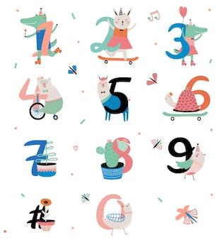 Set di numeri di anniversario di compleanno con simpatici animali