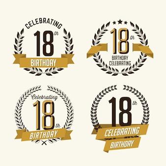 Set di badge di compleanno isolato su bianco