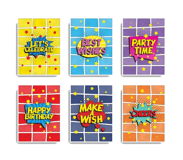 Set di modelli di banner o biglietti di auguri di compleanno in stile pop art retrò.