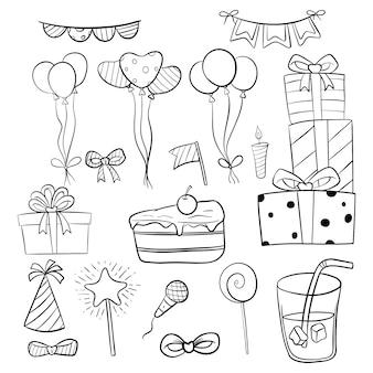 Insieme di elementi o icone di compleanno con stile disegnato a mano o doodle