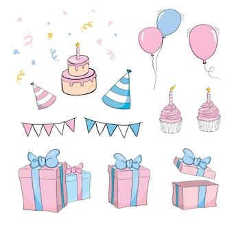 Set di oggetti di compleanno disegnati a mano