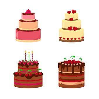 Set di torte di compleanno o matrimonio isolato su sfondo bianco dolci festivi tradizionali