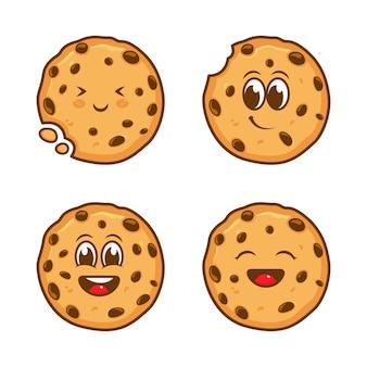 Set di modello di progettazione del logo del personaggio di biscotti