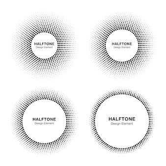 Set di cornici cerchio mezzetinte astratto nero, elemento di design logo emblema per medico, trattamento, cosmetico. icona del bordo rotondo utilizzando la trama dei punti del cerchio dei mezzitoni