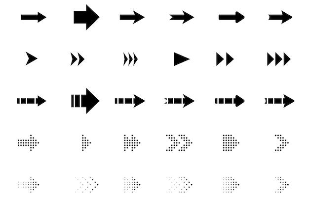 Set di frecce nere su uno sfondo trasparente isolato