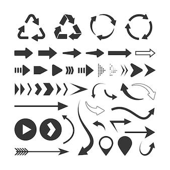 Set di frecce nere isolato su bianco