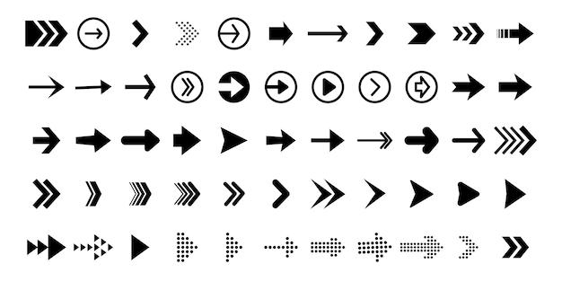 Imposta frecce nere per il web design. icona di vettore delle frecce. icona della freccia. set di grandi frecce vettoriali nere. cursore, fare clic. pacchetto icone freccia