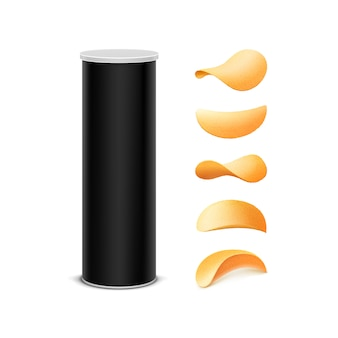 Set di black box package design con patatine fritte