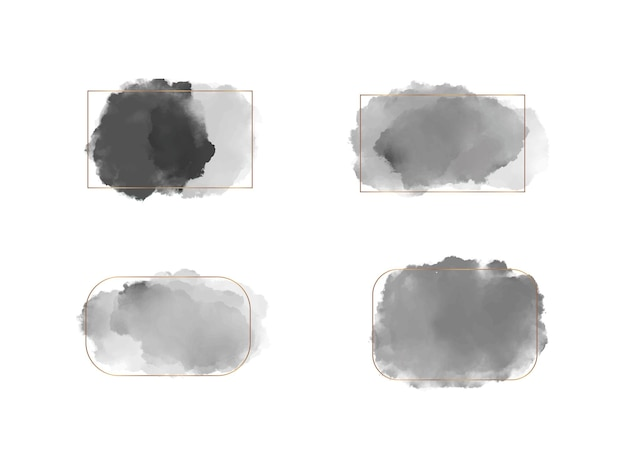 Imposta forme di acquerello con pennellate nere con cornici di linee dorate