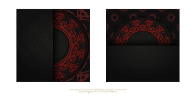 Un set di biglietti da visita neri con un ornamento greco rosso. design per biglietti da visita pronto per la stampa con spazio per il testo e motivi astratti.