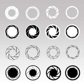 Set di icone nere dell'otturatore della fotocamera