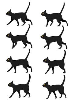Set di collezione di icone di gatto nero. il gatto nero posa per il preset di animazione della camminata. illustrazione su sfondo bianco