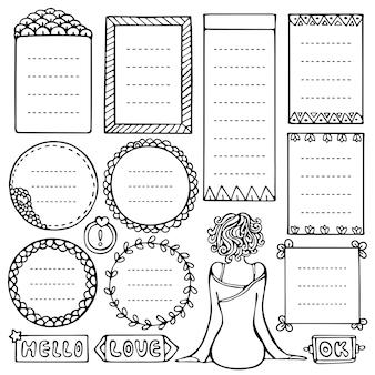 Set di cornici nere di doodle per bullet journal, taccuino, diario, pianificatore isolato su priorità bassa bianca