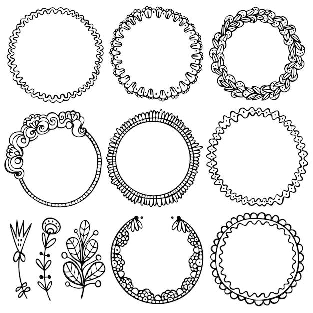 Set di cornici nere di doodle, vignette per bullet journal, taccuino, diario e pianificatore