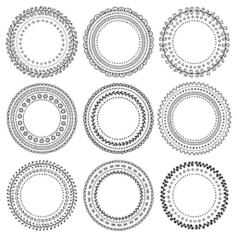 Set di vignette doodle nero per bullet journal, taccuino, diario e pianificatore