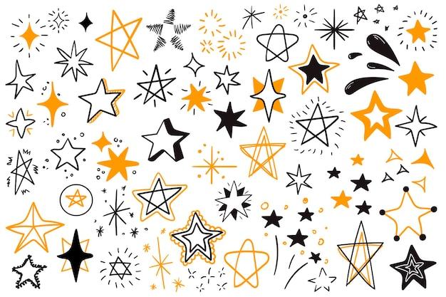 Set di stelle scarabocchi nere