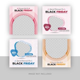 Set di banner post social media vendita di moda venerdì nero