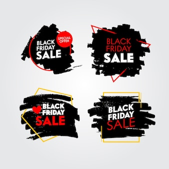 Insieme delle bandiere di vendita del venerdì nero con grungy astratto