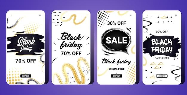 Set di modello di banner verticale venerdì nero per storie di instagram