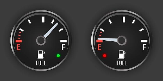 Imposta l'indicatore del carburante nero. indicatore del gas del motore. contatore carburante vuoto. cruscotto con indicatore