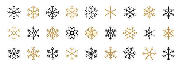 Set di fiocchi di neve neri e dorati. icona di vettore del fiocco di neve nero. modello di vettore di fiocchi di neve. icone del fiocco di neve di inverno. elementi di decorazioni vettoriali piatti invernali