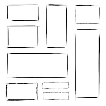 Set di cornici disegnate a mano di grunge nero. modello astratto di vettore isolato.