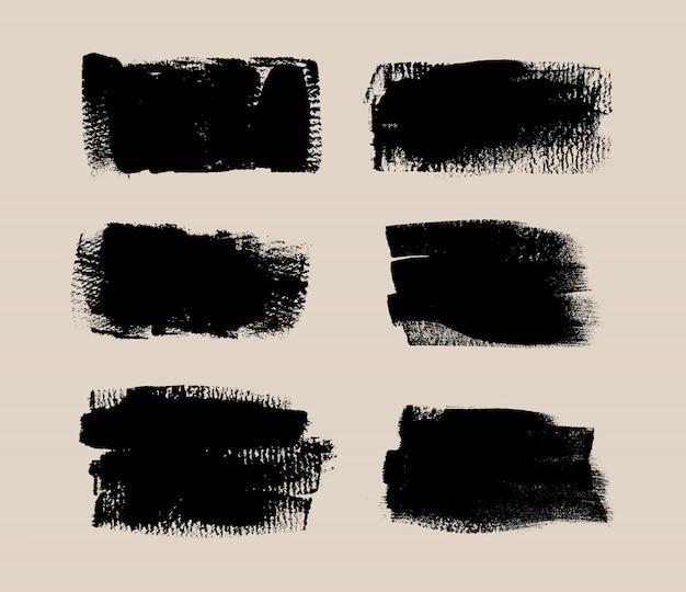 Set di pennelli vettoriali nero grunge