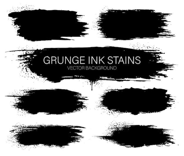 Insieme di macchie di vettore di inchiostro nero. cornici di vernice inchiostro nero per il testo. tratto di pennello inchiostro.