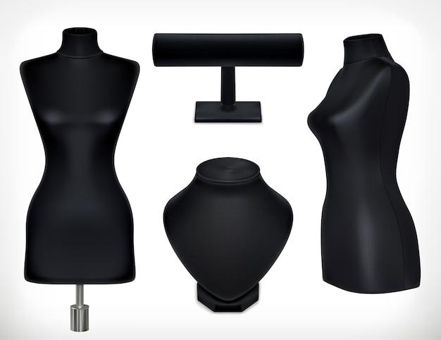 Insieme di oggetti di manichini neri