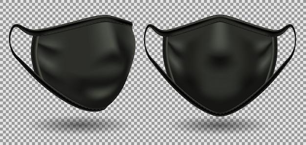 Impostare maschere mediche nere Vettore Premium