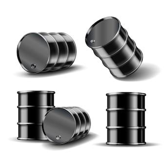 Set di barile di petrolio in metallo nero in posizione diversa isolato su sfondo bianco. illustrazione